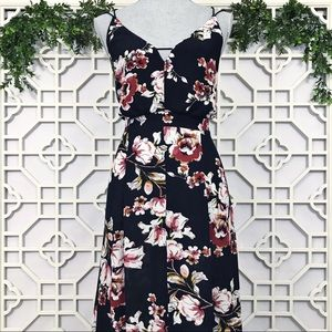 Lulus Navy Blue Floral Cross Straps Maxi Dress